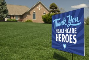 Healthcare Workers Heroes Yard Sign Decal Outdoor Display Thank You Sticker Kit